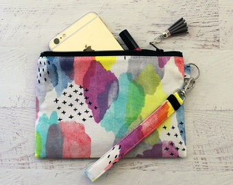 Watercolor print bag - cell phone wristlet - small wristlet - gorgeous organic fabric pouch - small wrist wallet - under 30 purse - clutch