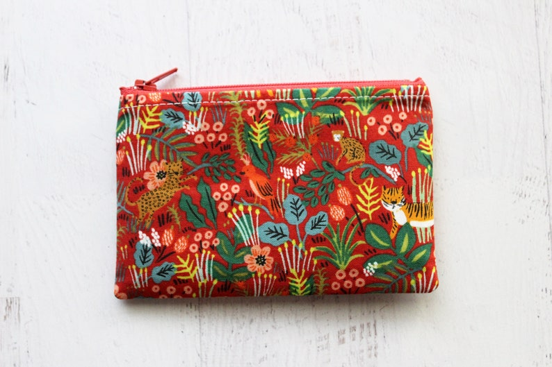 floral bag red zip pouch inexpensive gifts for her Cute jungle print zippered bag cute coin purse pouches animal print bag