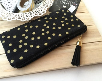 Gold dots on black pencil case - black pencil pouch - gold pencil bag - black and gold - gold dots - pencil pouch - pencil case