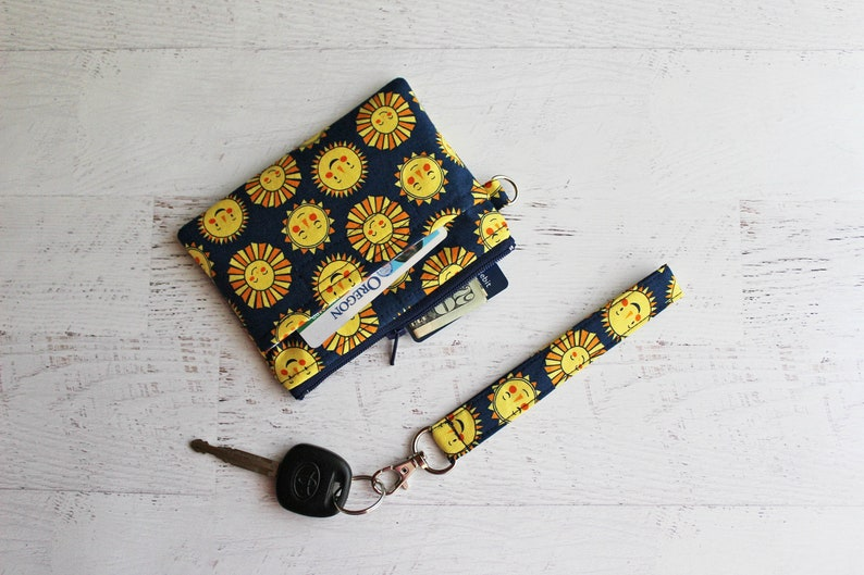 dark navy blue ID case You are my sunshine mini wristlet wallet gifts for teens cute sun print zipper pouch NO XMAS delivery