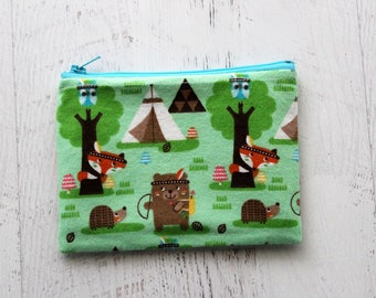 Cute change purse - woodland creatures bag - zippered pouch - gift for teen girl - school bag