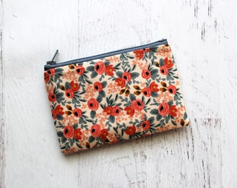 Floral pouch - small zipper pouch - cute change purse - floral zip pouch - gift ideas for women - coral wallet