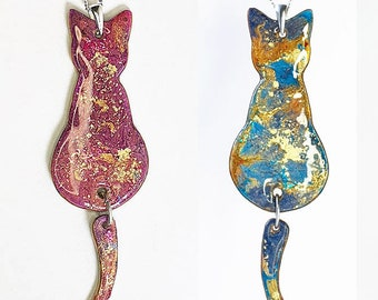 Swing Tail Reversible Cat Necklace - Kitty Pendant In A Gift Box - Blue Gold purple
