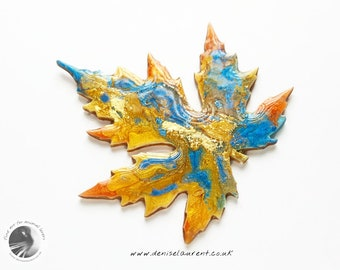 Silver Maple Leaf Brooch, Autumn Leaf Pin, Maple Leaf Pin, Leaf Jewellery, Gift Box Blue Yellow Orange Gold