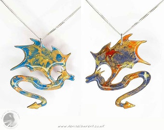 Blue Red Dragon Reversible Necklace - In A Gift Box - Turquoise Dragon Pendant