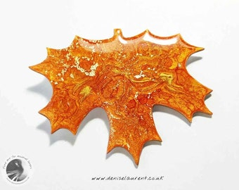 Maple Leaf Brooch, Orange Gold leaf, Gift Box, Fall Autumn Pin, Broach, Wearable Art
