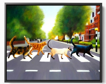 Abbey Road Cats - Framed Canvas Cat Print- Ginger Kitty, Tabby Maine Coon, Black Cat, Siamese, Wall Art - Beatles Free Shipping