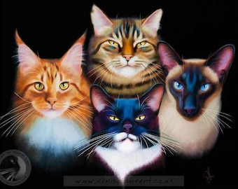 Bohemian Catsody - Limited Edition Cat Print- Ginger Kitty Tabby Maine Coon Tuxedo Cat Siamese Wall Art - Free Shipping
