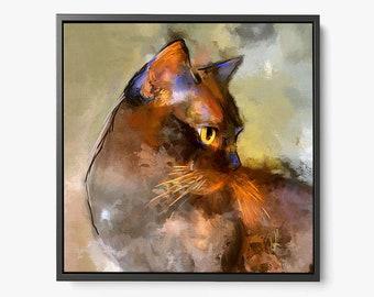 Elli - Framed Canvas Cat Print - Burmese Cat Artwork - Kitty Cat Wall Art - Cat Wall Decor - Free Shipping
