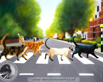 Abbey Road Cats - Limited Edition Cat Print- Ginger Kitty Tabby Maine Coon Black Cat Siamese Wall Art - Beatles Free Shipping