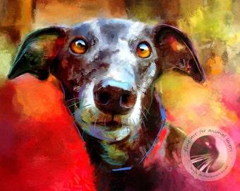 Milly Many Coats Greyhound Dog Print - Greyhound Art Print - Greyhound Wall Art - Greyhound Painting - Free Shipping