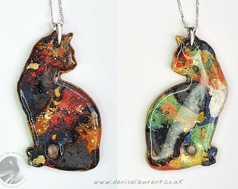 Cat Necklace - Double Sided Kitty Pendant In A Gift Box - Tabby - Orange Red Green Gold Black