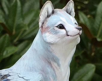 Winged Blue Wolf Ooak Polymerclay Fantasy Sculpture