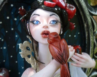 Red as a Rose - Snow White Polymer clay Framed Sculpture