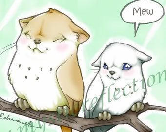 Meowls Art Print