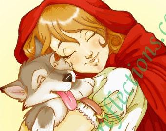 """Little Red Riding Hood """"Little Wolf"""" Art Print"""