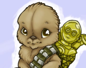 Little Chewbacca and C3PO Star Wars Art Print
