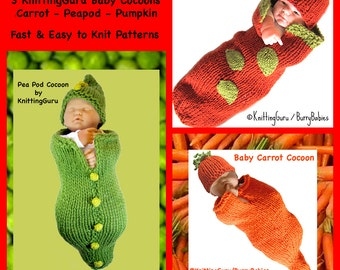 3 Baby Cocoon Patterns - Knit Pattern Pack + Tutorials - Newborn Costumes, Hats, Buntings