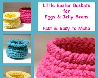 3 Easter Basket Patterns Fast Easy Crochet DIY for Kitchen Bathroom Office Tabletop Storage- Instant Download pdf -