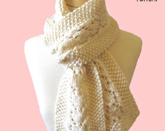 Knit Scarf Pattern Heart Lace Scarf PDF - Instant Download
