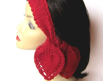 Knit Pattern Heart Scarf and Headband PDF - Instant Download - Stash Buster