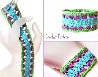 Crochet Bracelet Pattern PDF: Fast Easy Lace Cuff in Thread Crochet