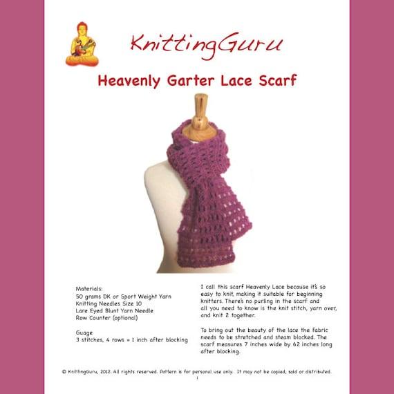 Easy Garter Knit Scarf Pattern Tutorial Heavenly Garter Lace | Etsy