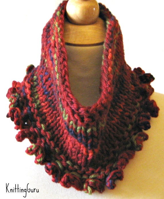 Chunky Knit Cowl Scarf Pattern Instant Download Fast Easy Etsy