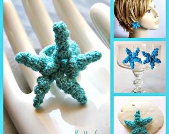 Starfish Crochet Jewelry Pattern: Ring, Brooch, Earrings - Fast Easy Instant Download DIY
