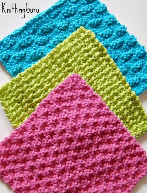 6 Ecofriendly Knit Dishcloth Patterns Tutorials E-book PDF | Etsy