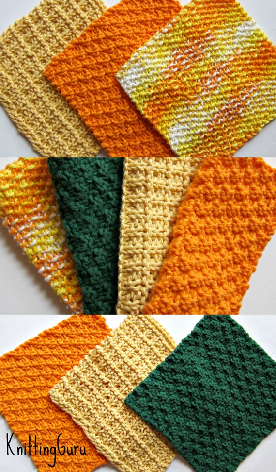6 Knit Dishcloth Patterns Tutorials - E-book PDF - Fast Easy ...