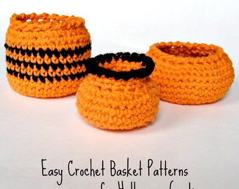 3 Halloween Baskets Crochet Pattern - Fast Easy DIY - Instant Download PDF - Kitchen Bathroom Office Tabletop Storage