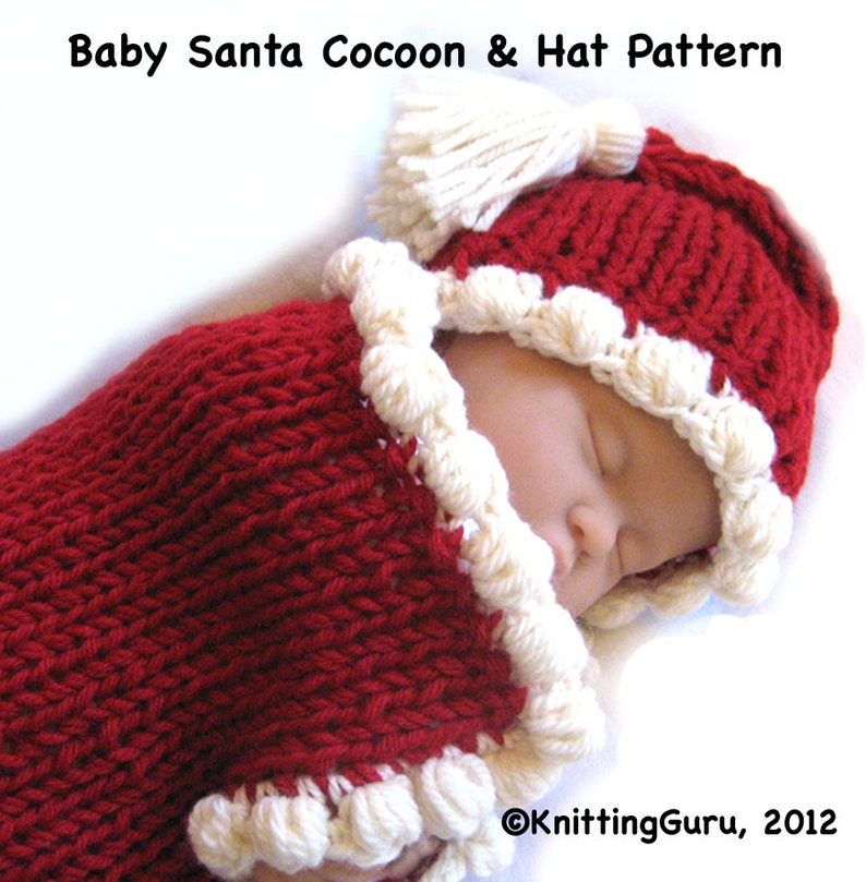 c9ca3e1be009 Baby Knitting Pattern Cocoon Hat Bunting Fast Easy PDF