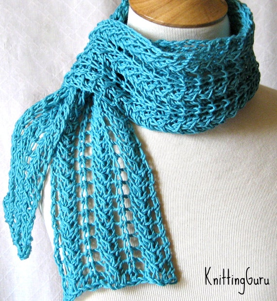 Knit Scarf Pattern Zigzag Lace Scarf Plus 3 Tutorials Etsy
