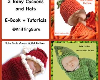 3 Baby Cocoon Sets E-book Tutorials - 3 Pattern Bundle - Holiday Costumes - Baby Buntings - Carrots, Peas, Santa