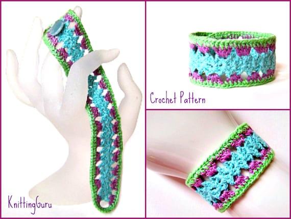 Crochet Bracelet Pattern Pdf Fast Easy Lace Cuff In Thread Etsy