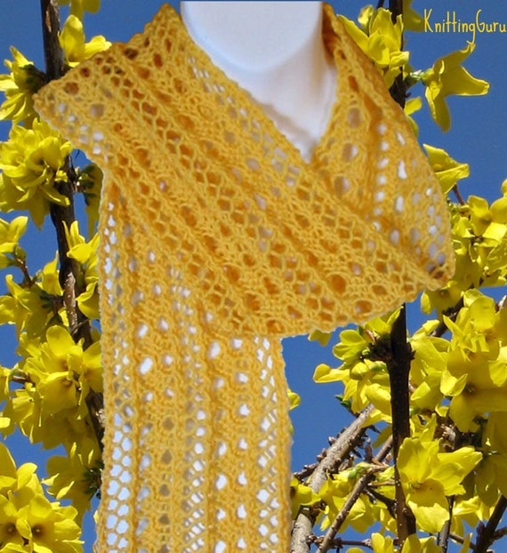 Easy Knit Scarf Pattern Delicate Forsythia Lace Instant Etsy