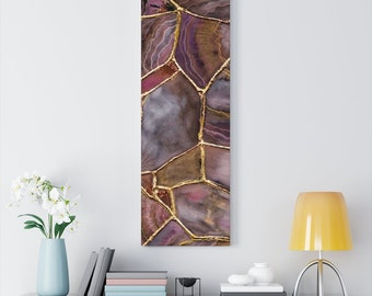 ROSE GOLD Kintsugi GEODE Canvas Gallery Wraps, Abstract Art, Boho Decor, Jungalow, Nature Inspired, Pink Agate Slice Art, Earthy Art Print