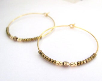 Hoop Earrings Beaded Bohemian Boho Czech Glass Beads Gold Plated Hoops