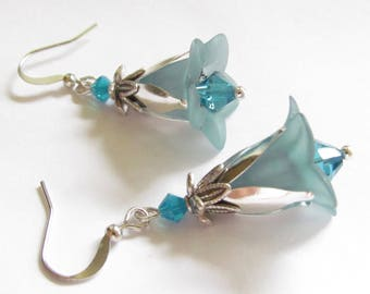 Teal Green Trumpet Flower Dangle Earrings Swarovski Crystal Dangle Drop Woodland Fairy Boho Bohemian Artisan Handmade USA Hawaiian Jewelry