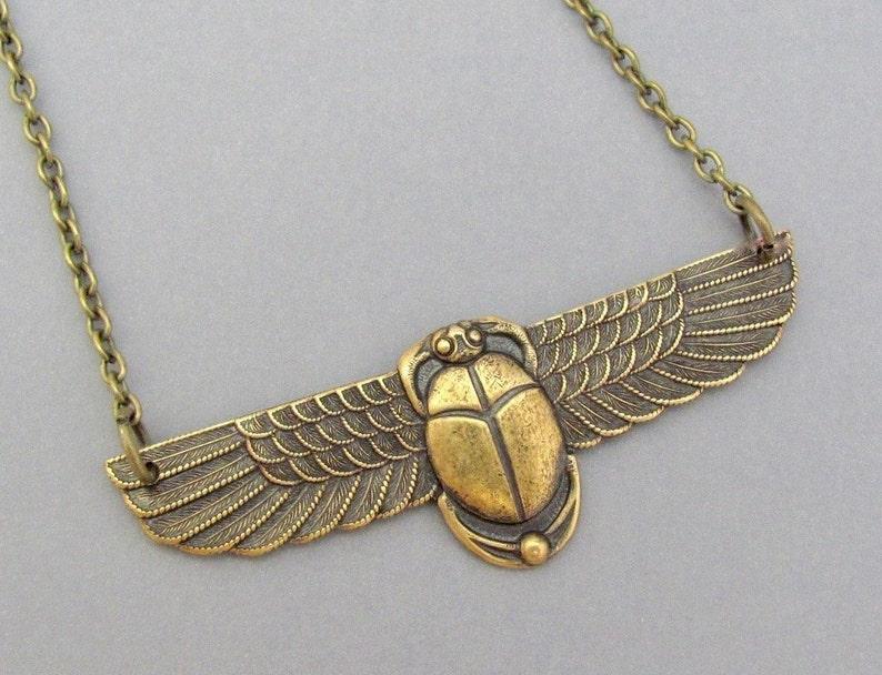 Art Deco Necklace Egyption Revival Scarab Pendant Oxidized Brass Chain Birthday Anniversary Vintage Art Nouveau Gift USA Handmade Jewelry