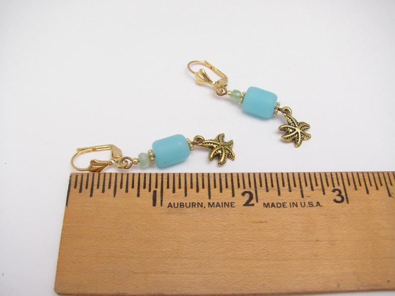 Star Fish Sea Glass Earrings Blue Beach Jewelry Made in Hawaii Hawaiian Earrings