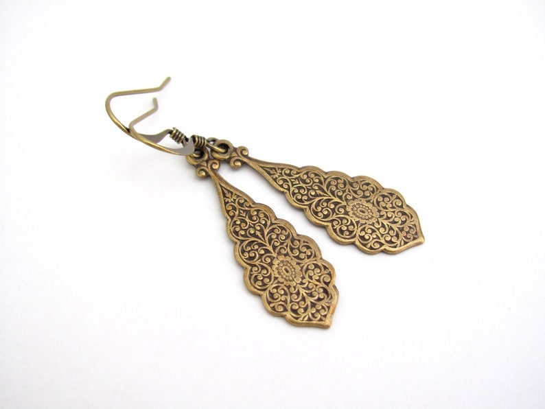 Art Nouveau Earrings Embossed Antiqued Brass Plated Ornate Dangle Wedding Birthday Gift Earrings