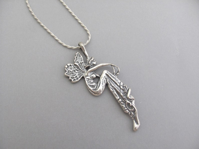 Art Nouveau Goddess Pendant Necklace Sterling Silver Lady Fairy Twisted Chain Vintage Silver Charm Gift