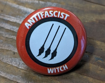Antifascist Witch - Pinback Button