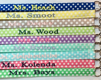 Personalized Lanyard, Chevron Lanyard, Polka Dot Lanyard, Teacher Lanyard, Nurse Lanyard, Teacher Gift, Corporate Lanyard