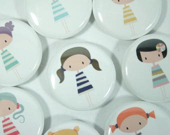 Cute little Kawaii girls pin back button or magnet party favors