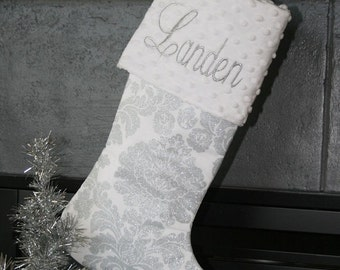 Personalized Christmas Stocking in Metallic Silver Damask