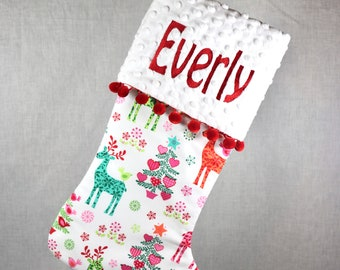 Girly Christmas Stocking, Monogrammed Stocking, Pink Stocking, Personalized Christmas Stocking, Customize your Stocking, Christmas Stockings