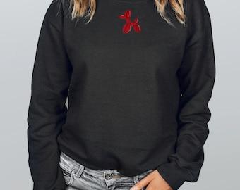 Black with Red Balloon Animal Sweatshirt, Black Crew Sweatshirt, Teen Girl Sweatshirt,  Tik Tok Sweatshirt, Big Sweatshirt, Cute Hoodie